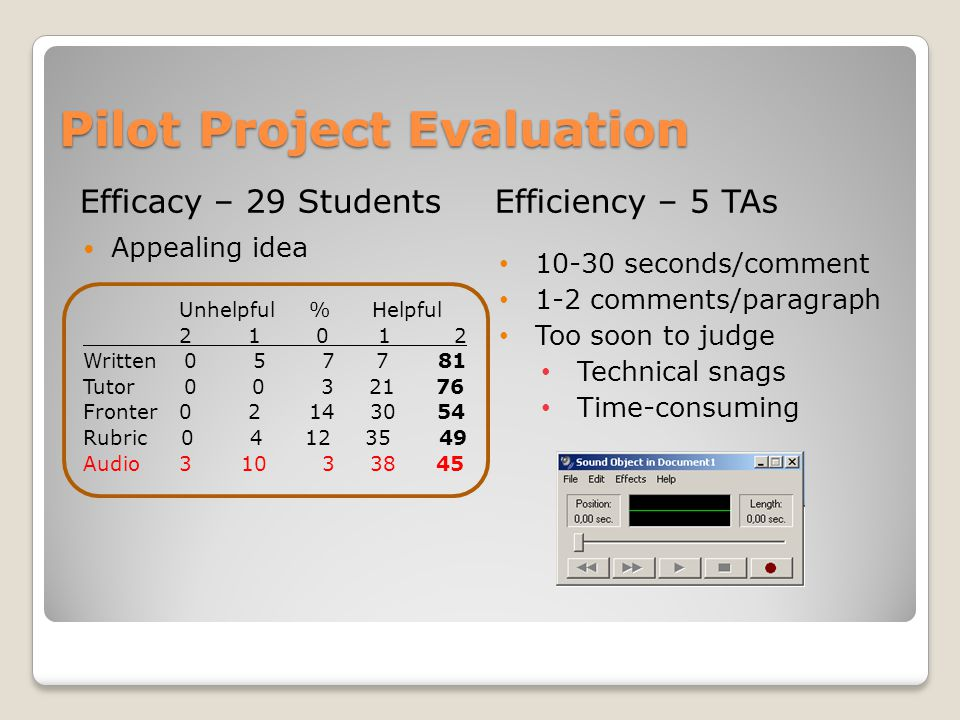 Pilot Project Evaluation