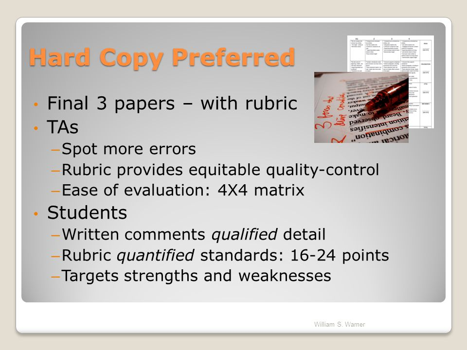 Hard Copy Preferred Final 3 papers – with rubric TAs Students