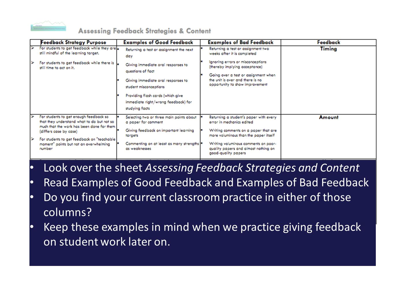 Look over the sheet Assessing Feedback Strategies and Content