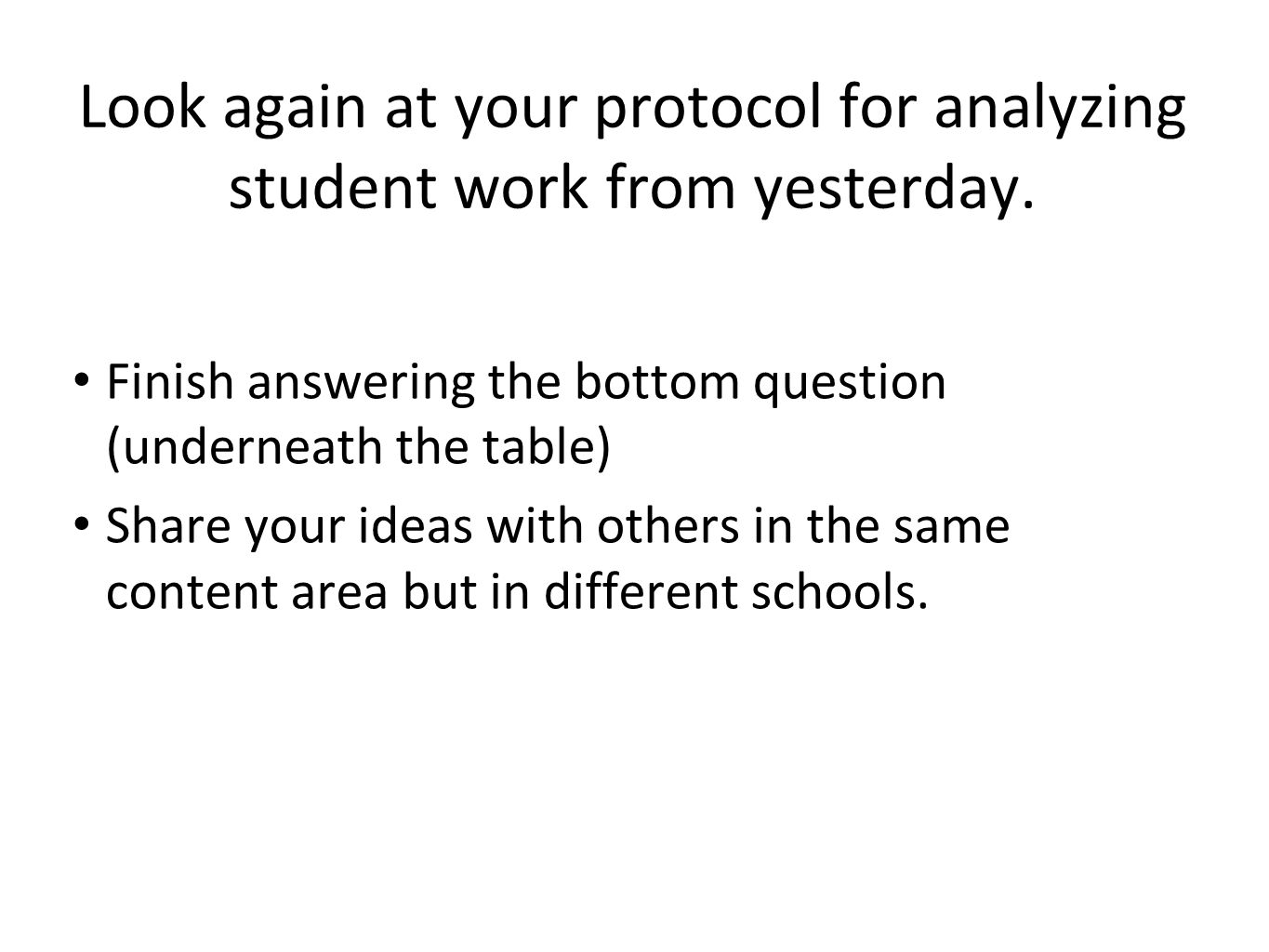 Look again at your protocol for analyzing student work from yesterday.