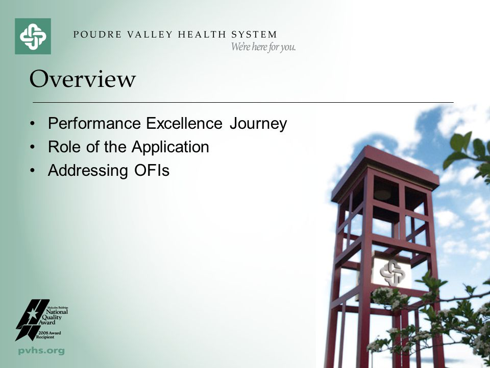 Overview Performance Excellence Journey Role of the Application