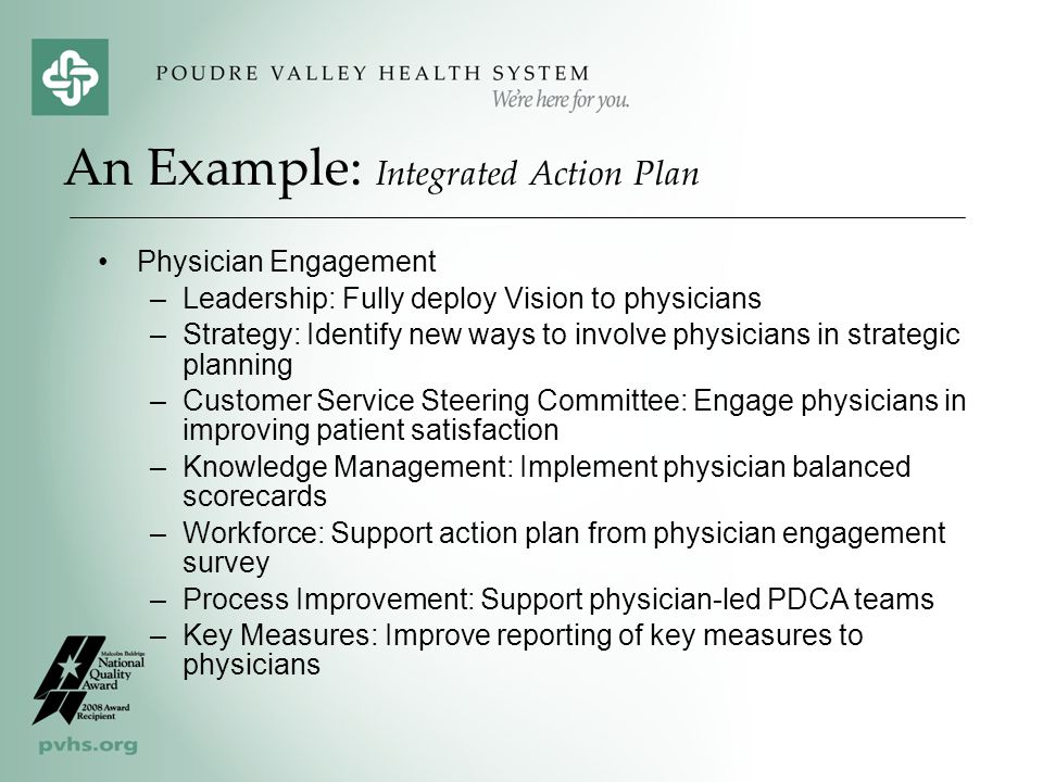An Example: Integrated Action Plan