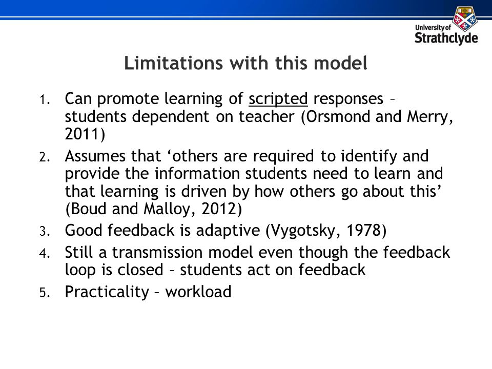 Limitations with this model
