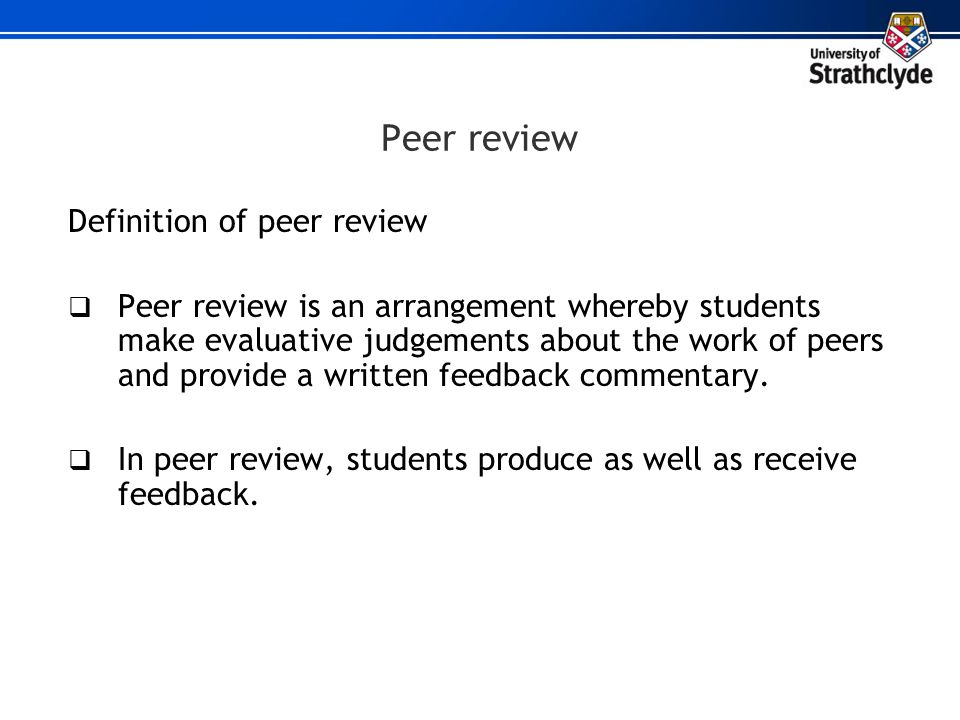 Peer review Definition of peer review