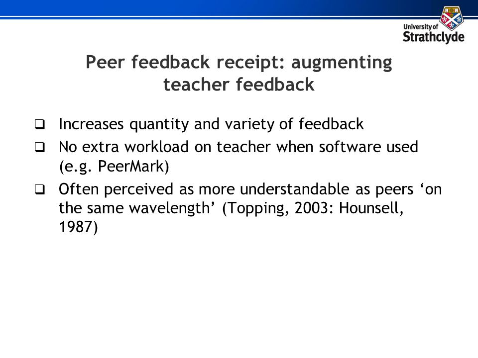 Peer feedback receipt: augmenting teacher feedback