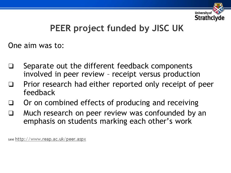 PEER project funded by JISC UK