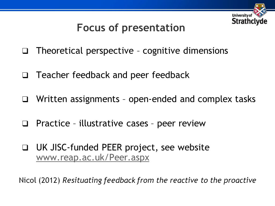 Focus of presentation Theoretical perspective – cognitive dimensions