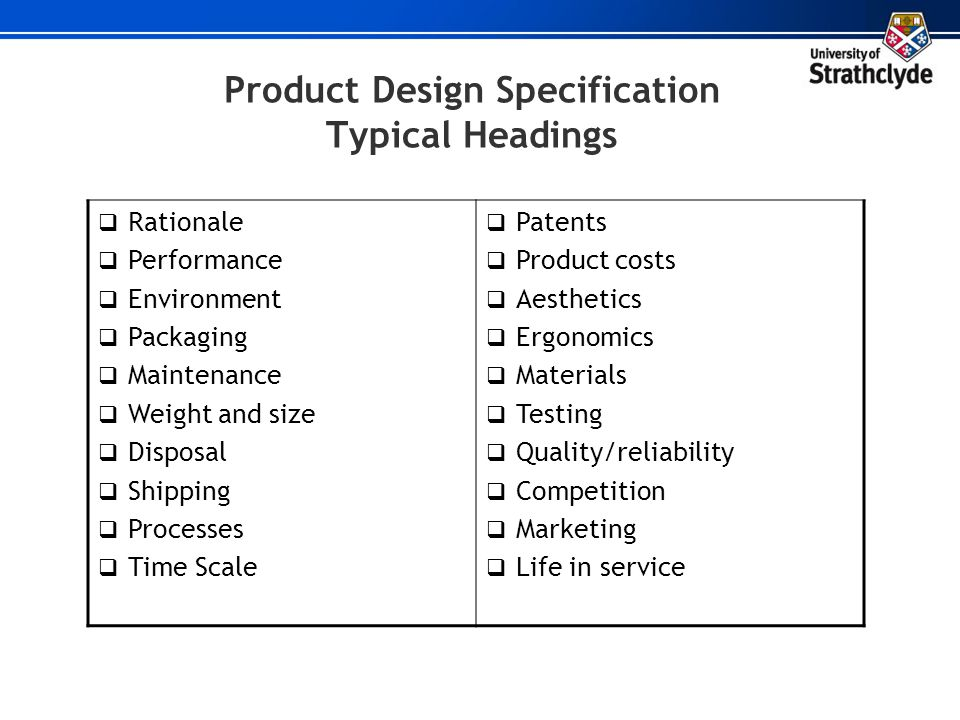 Product Design Specification Typical Headings