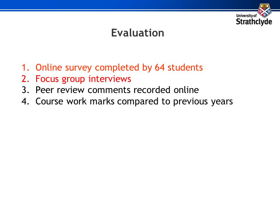 Evaluation Online survey completed by 64 students