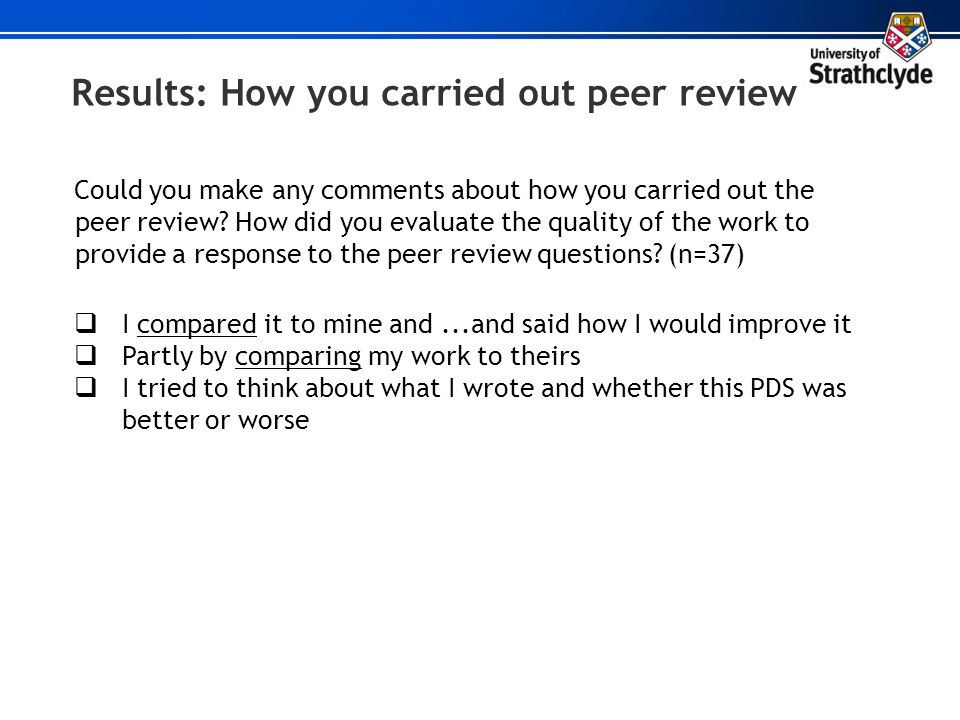 Results: How you carried out peer review