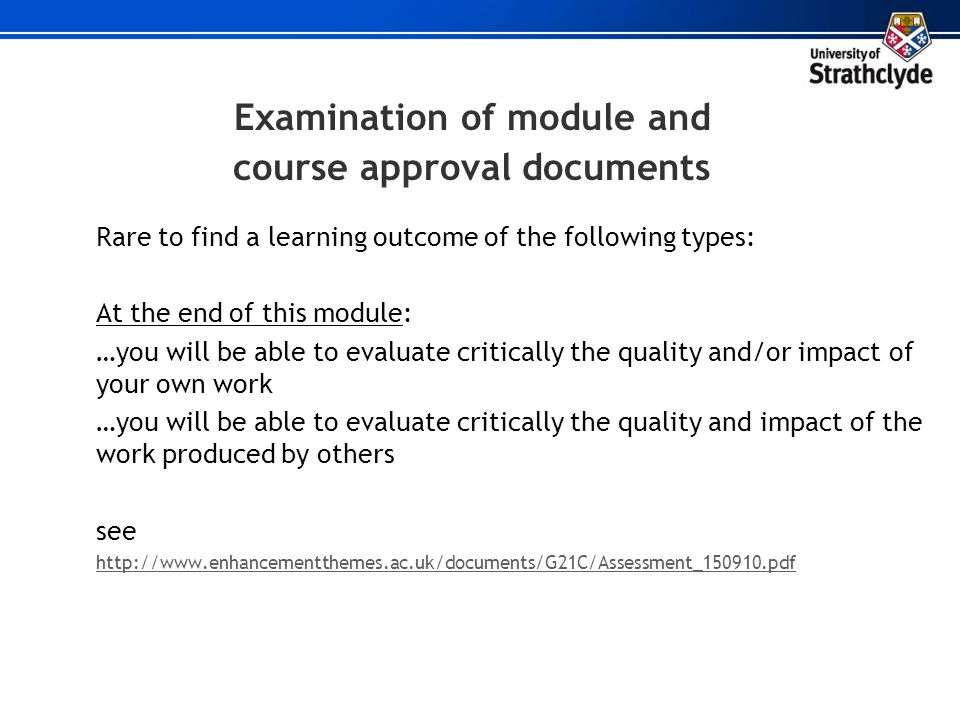 Examination of module and course approval documents