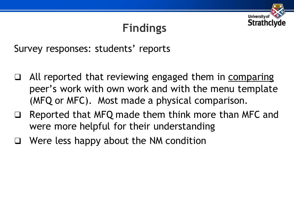 Findings Survey responses: students' reports