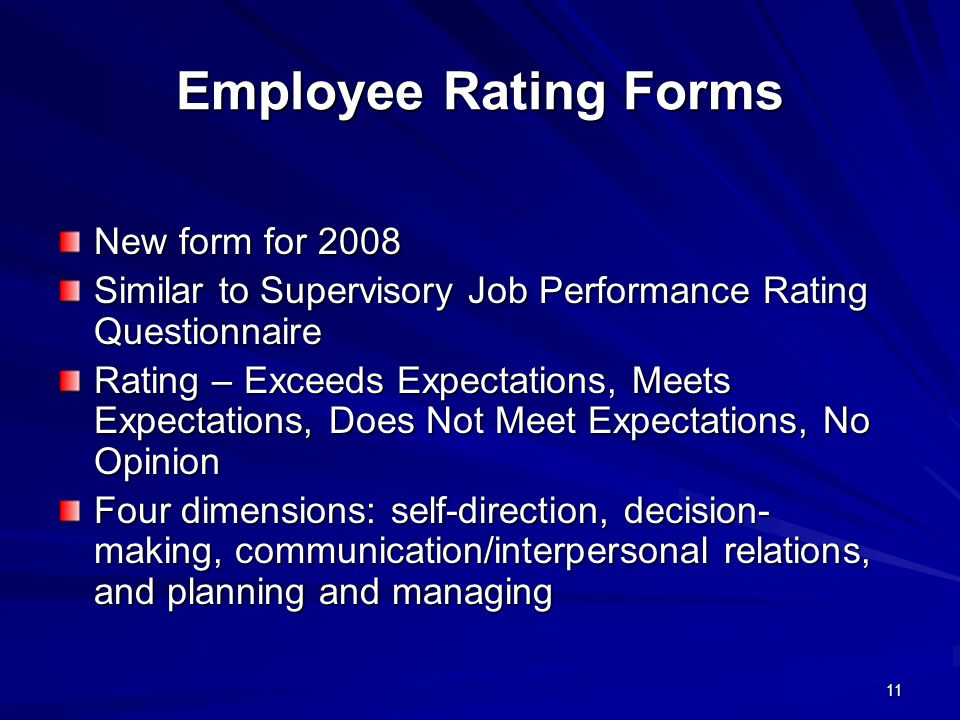 Employee Rating Forms New form for 2008