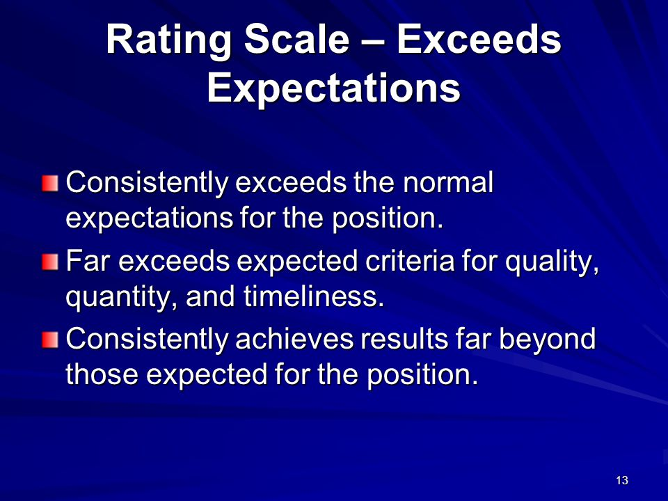 Rating Scale – Exceeds Expectations