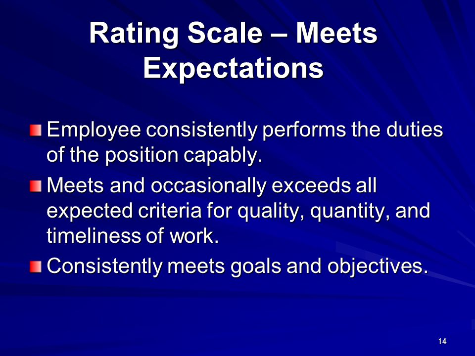 Rating Scale – Meets Expectations