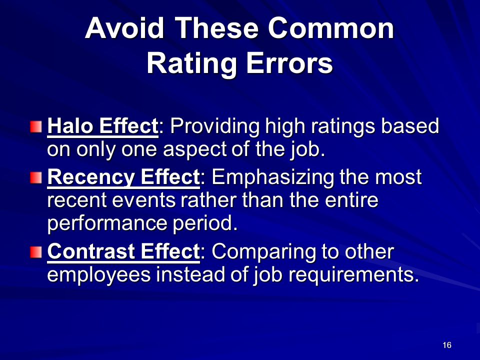 Avoid These Common Rating Errors