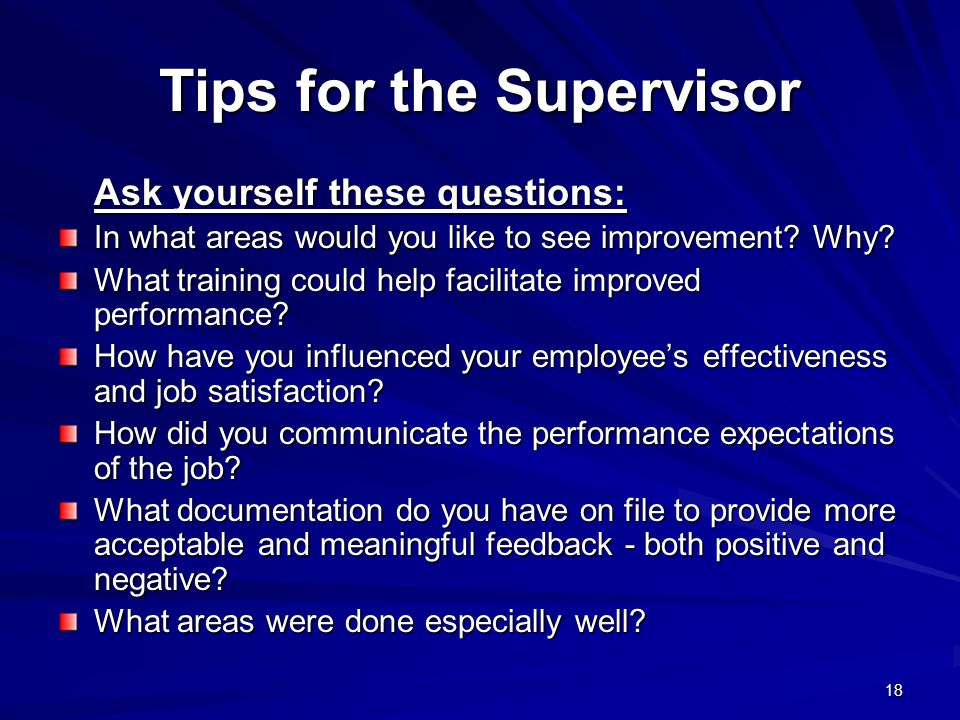 Tips for the Supervisor