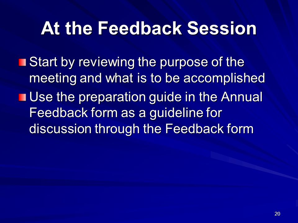 At the Feedback Session
