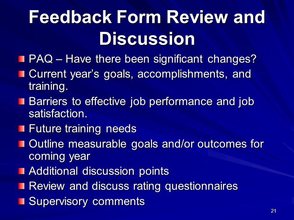 Feedback Form Review and Discussion