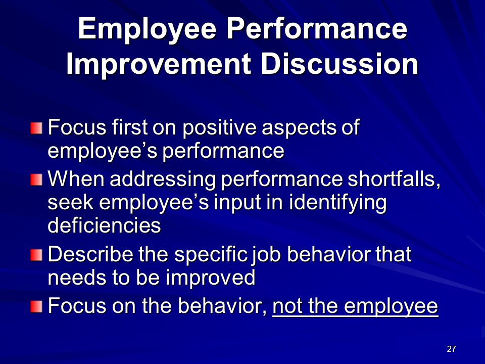 Employee Performance Improvement Discussion