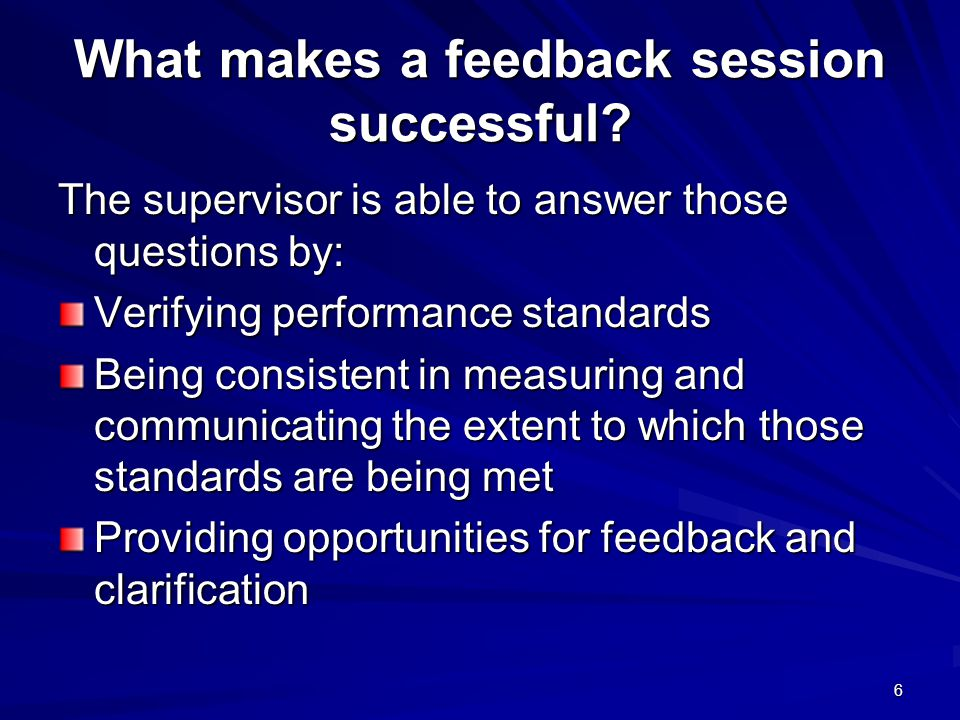 What makes a feedback session successful