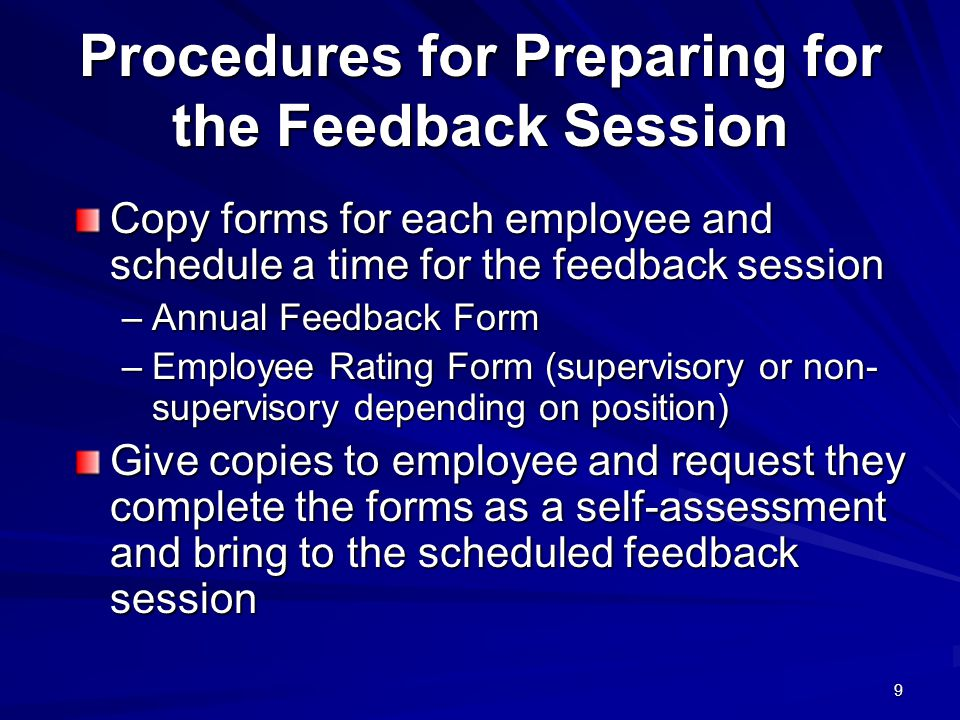 Procedures for Preparing for the Feedback Session