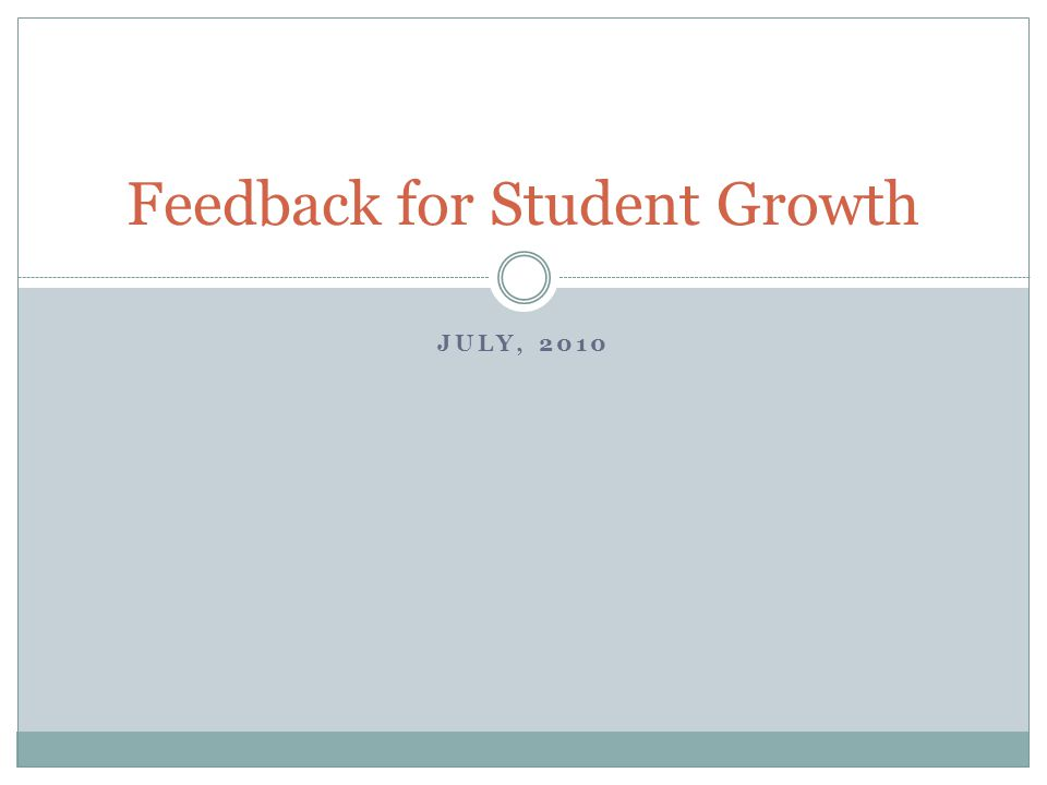 Feedback for Student Growth