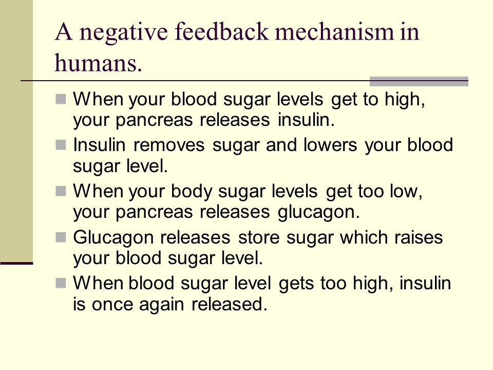 A negative feedback mechanism in humans.