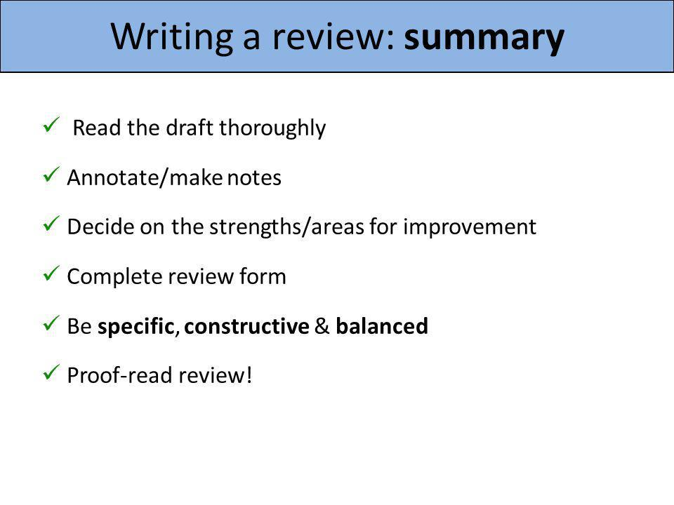 Writing a review: summary