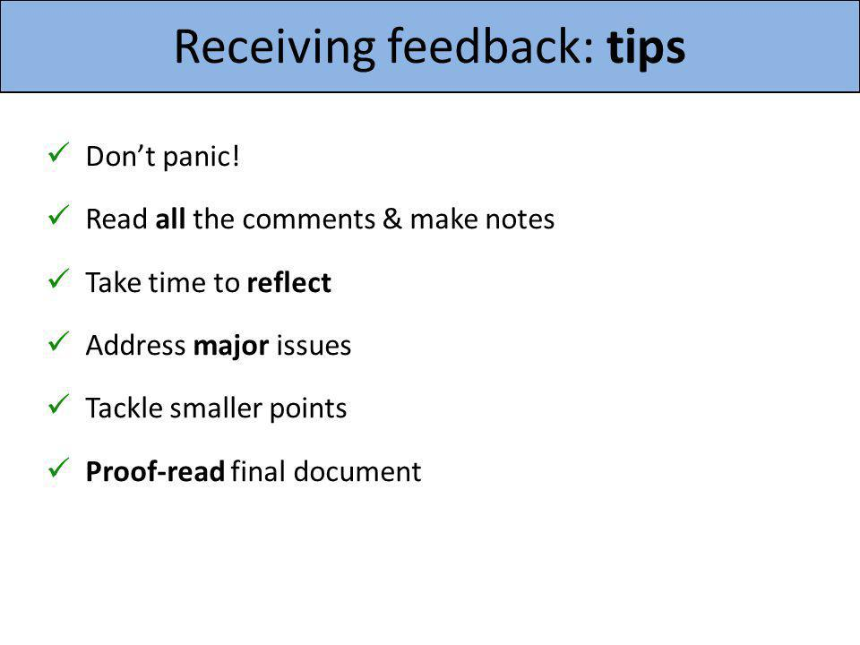 Receiving feedback: tips
