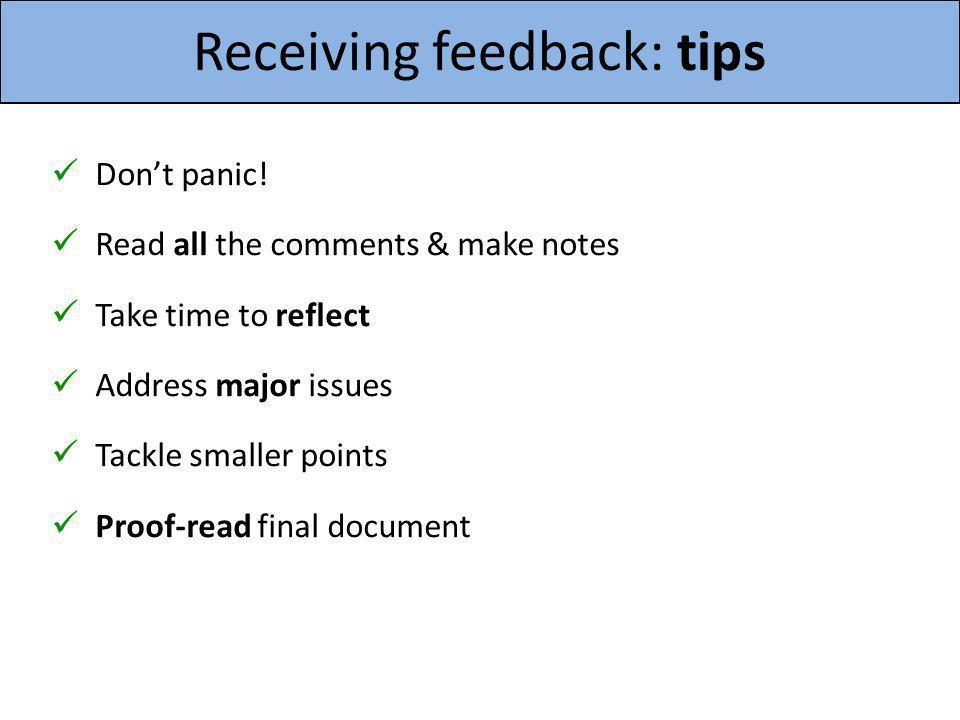 Receiving feedback: tips