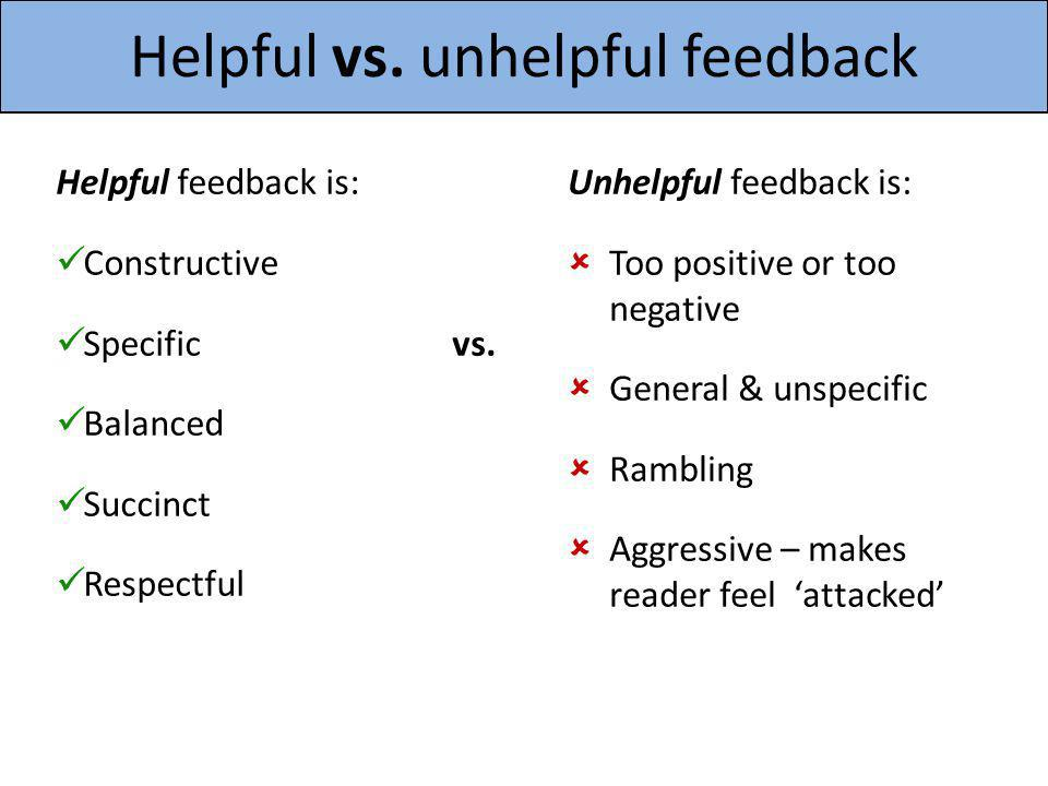 Helpful vs. unhelpful feedback