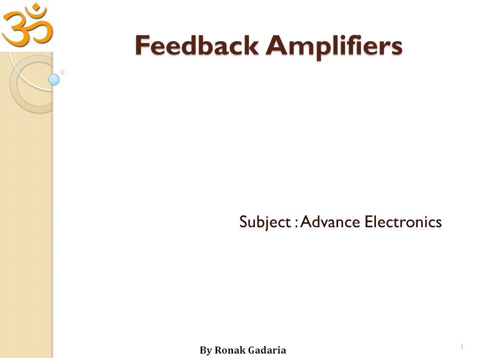 Subject : Advance Electronics