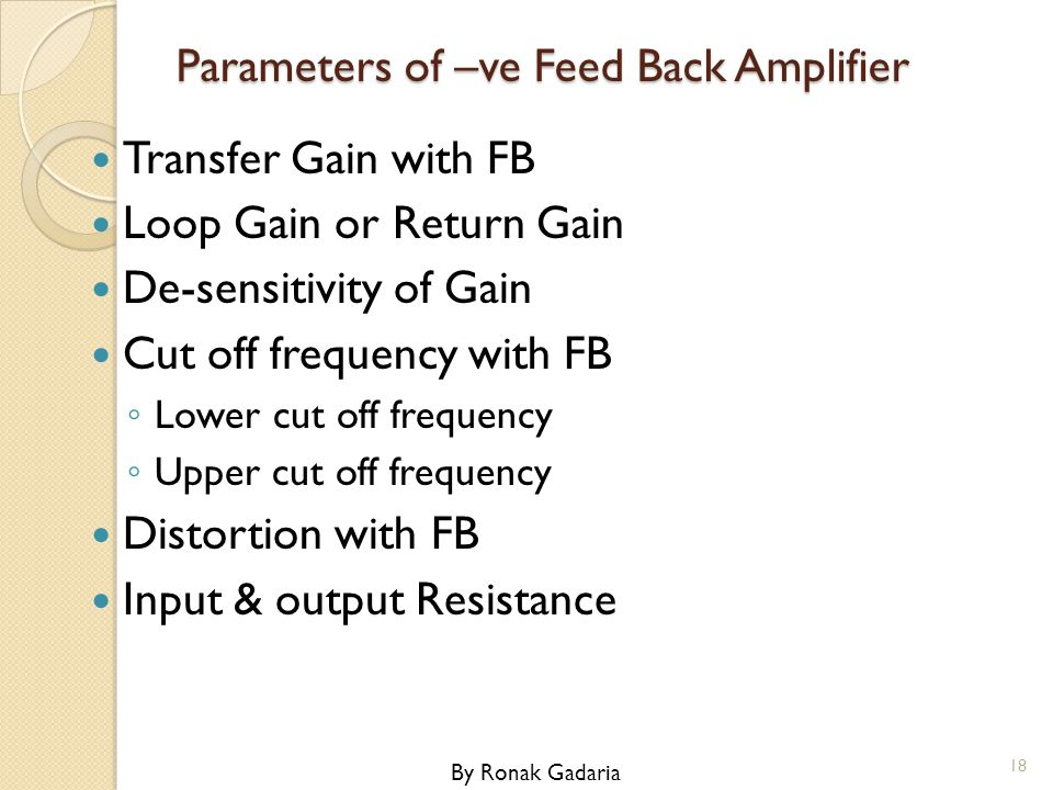 Parameters of –ve Feed Back Amplifier
