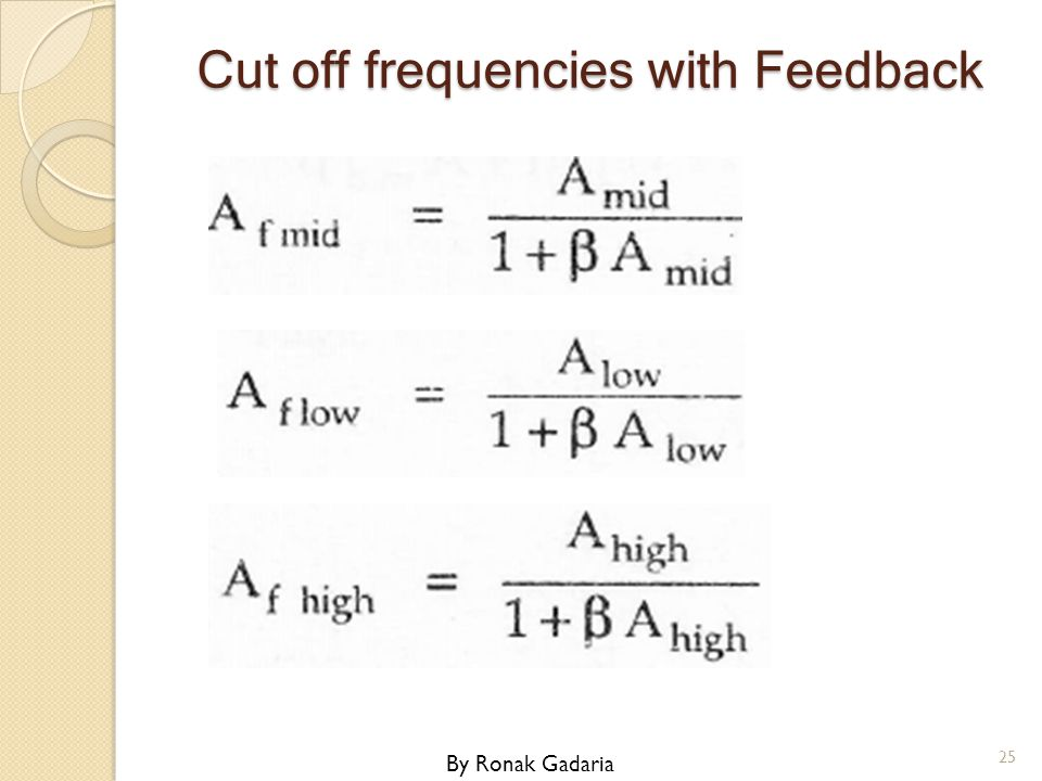 Cut off frequencies with Feedback