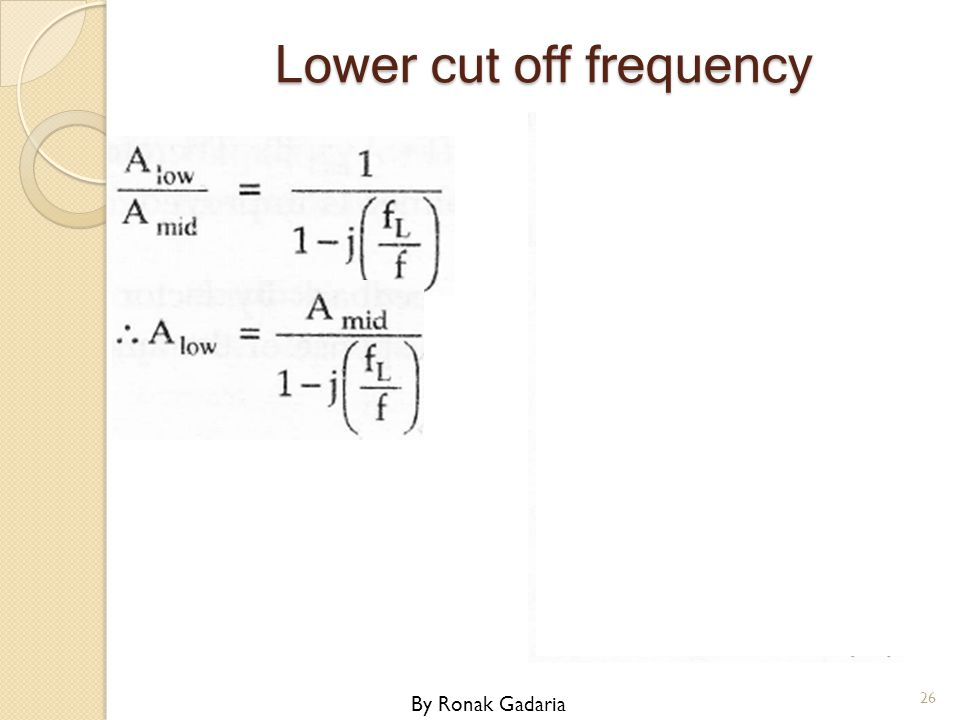 Lower cut off frequency