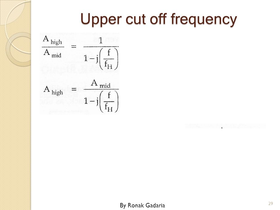 Upper cut off frequency