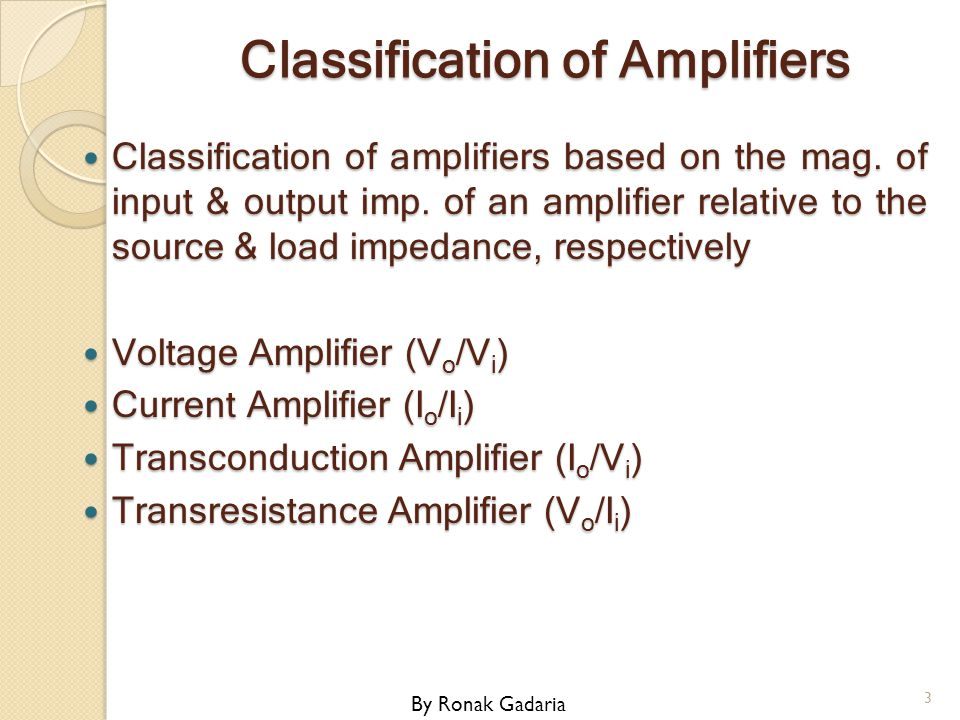 Classification of Amplifiers