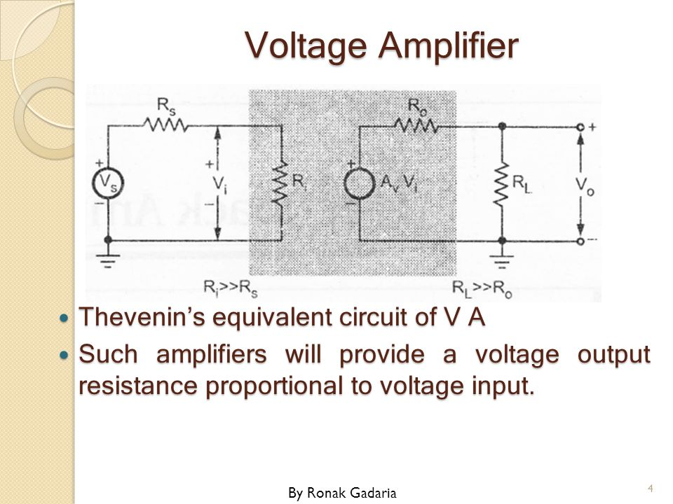 Voltage Amplifier Thevenin's equivalent circuit of V A