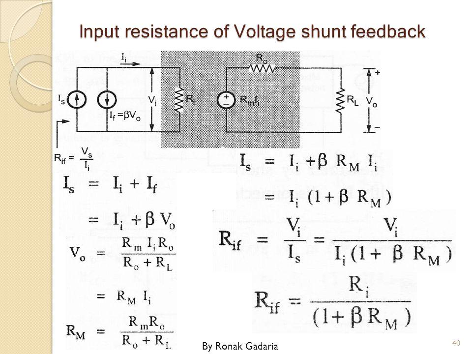Input resistance of Voltage shunt feedback