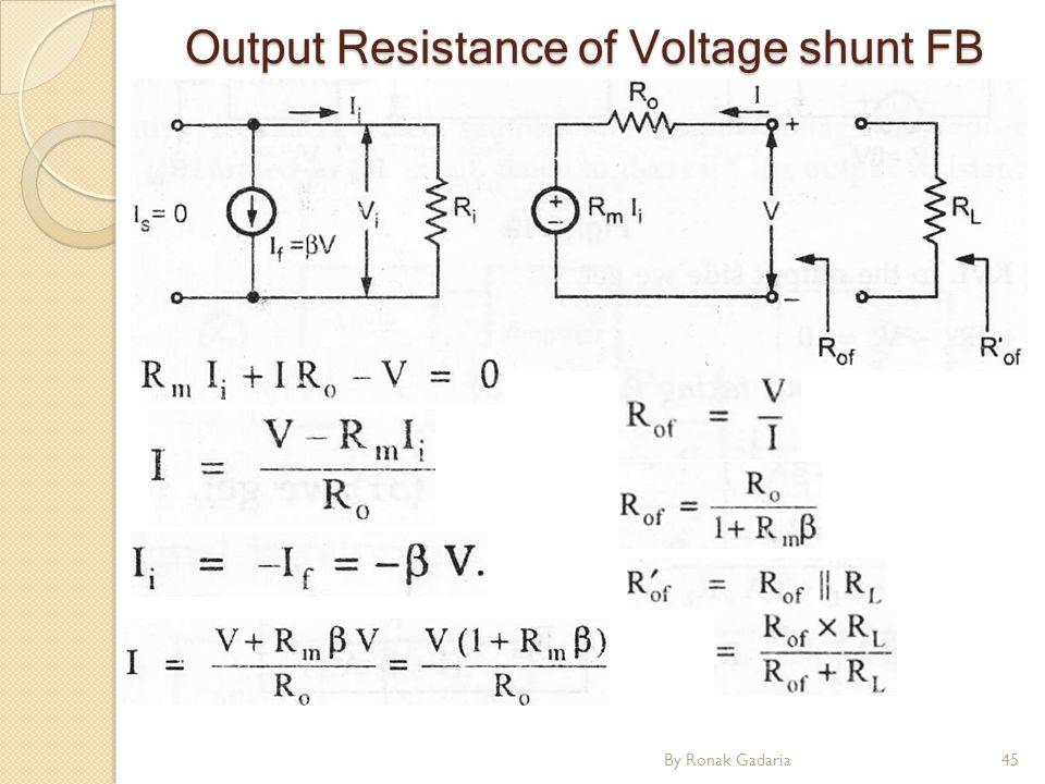 Output Resistance of Voltage shunt FB