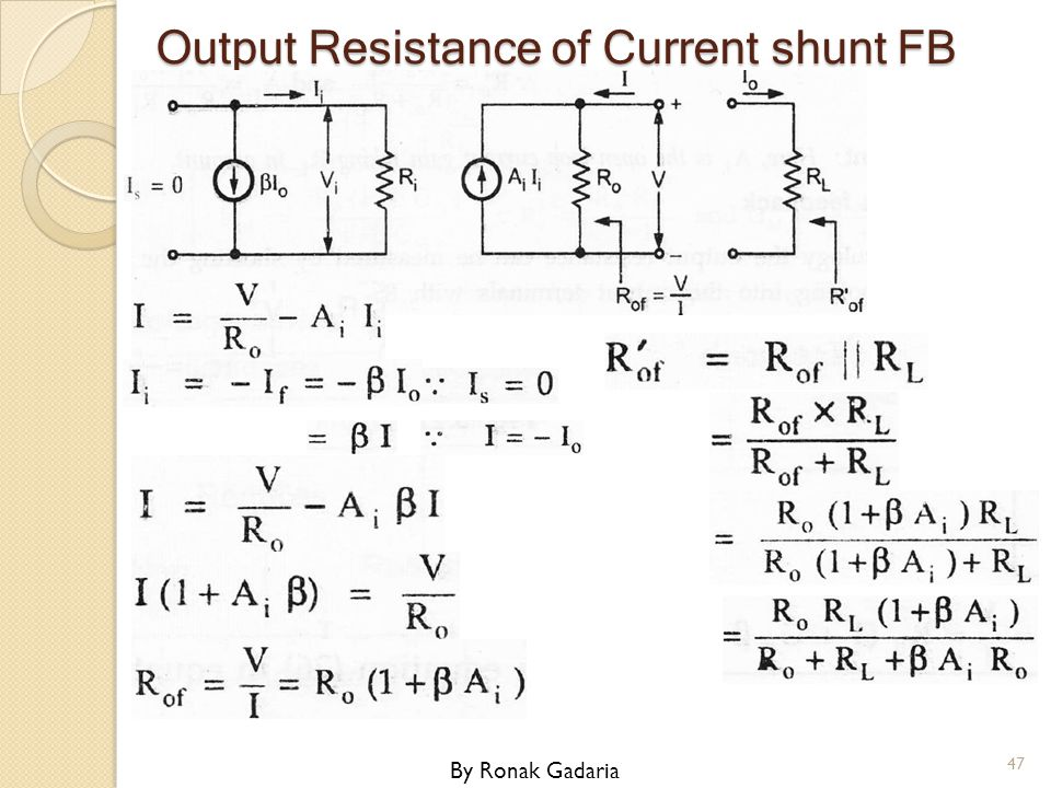 Output Resistance of Current shunt FB