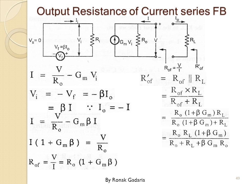 Output Resistance of Current series FB