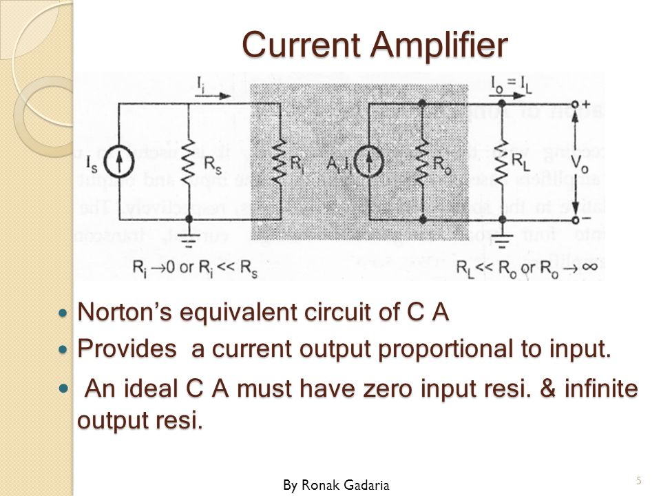 Current Amplifier Norton's equivalent circuit of C A. Provides a current output proportional to input.
