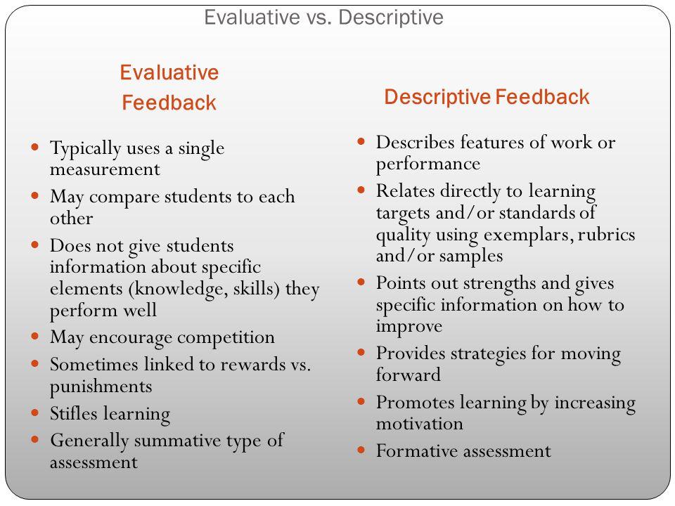 Evaluative vs. Descriptive