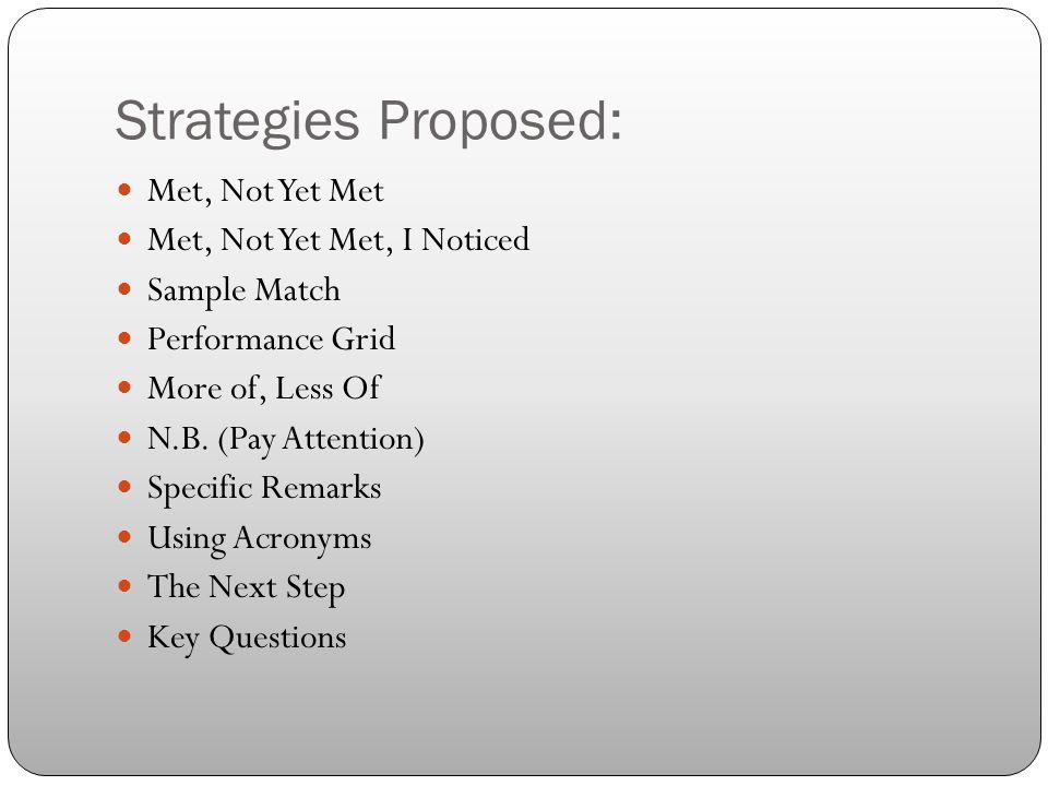 Strategies Proposed: Met, Not Yet Met Met, Not Yet Met, I Noticed