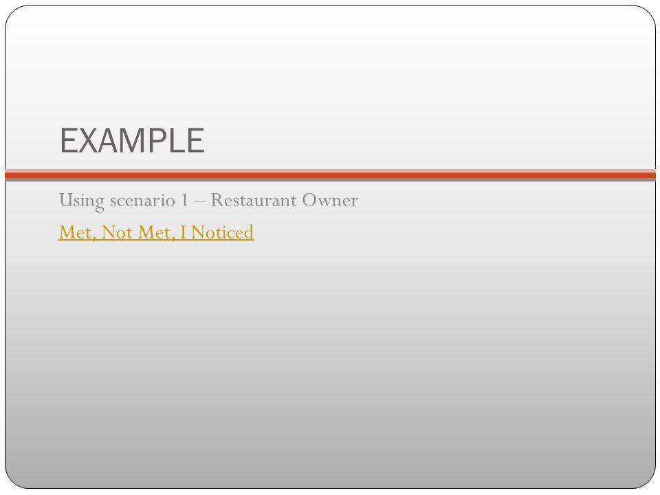 EXAMPLE Using scenario 1 – Restaurant Owner Met, Not Met, I Noticed