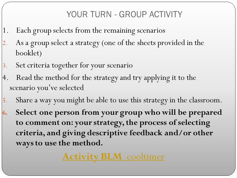 YOUR TURN - GROUP ACTIVITY
