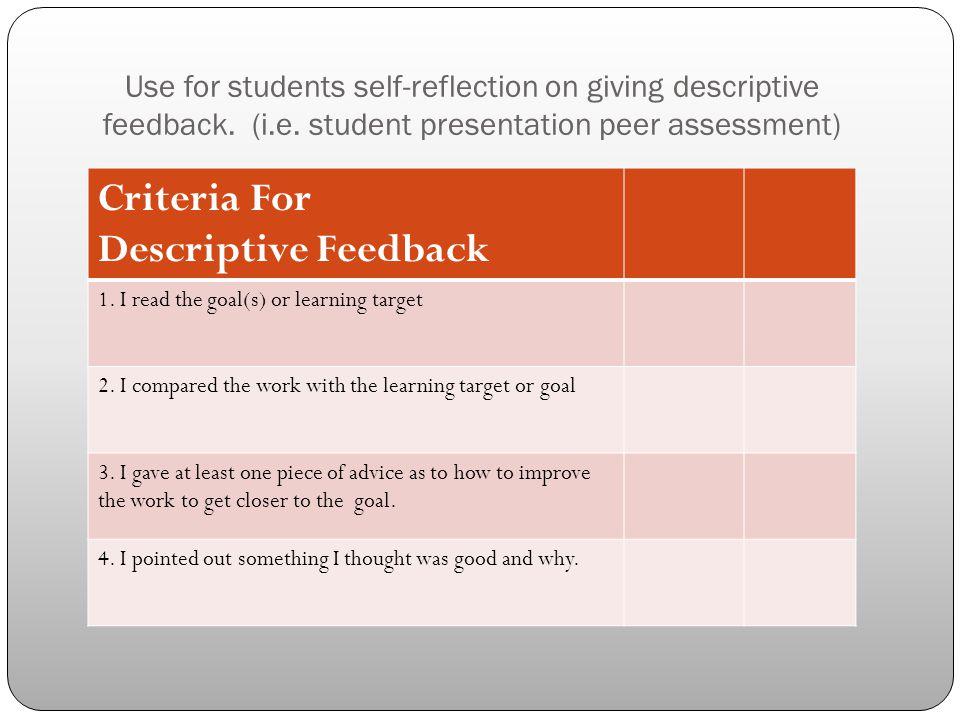 Use for students self-reflection on giving descriptive feedback. (i. e