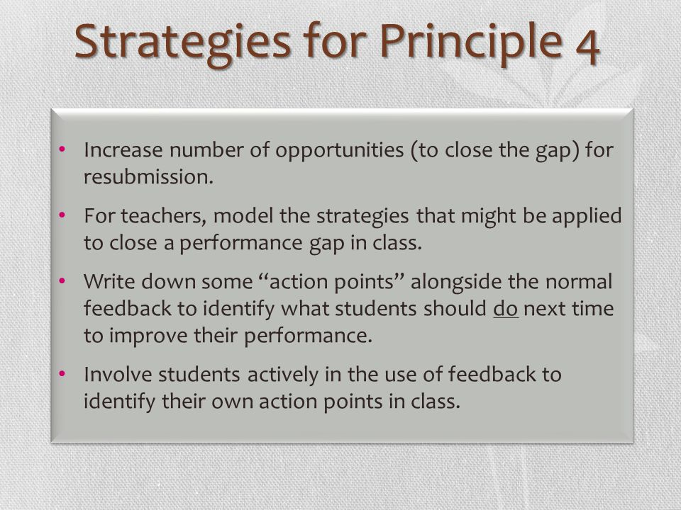 Strategies for Principle 4